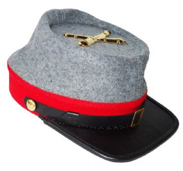 Confederate Grey Artillery Kepi With Red Trim And Artillery Badge
